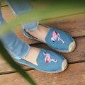 2017 Girls Slipony Women Flamingon Hemp Flats Shoes Brand Designer Rhinestone Flat Loafers Espadrilles Studded Horsebit loafer