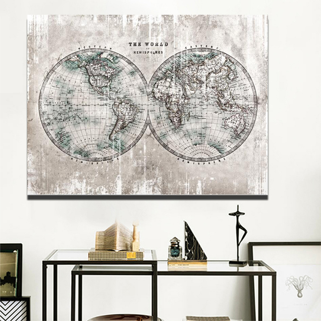 Modern World Map Canvas Painting Light Grey Map Poster Digital ... on