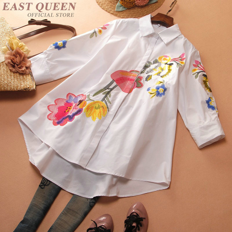 Cuello En Aa3439 Bordado Cuartos Delgado De Shirts Mujeres 1 2 Floral Tops Vintage F Manga Tres Primavera Camisas Elegante Cuadrado wq7Iwa