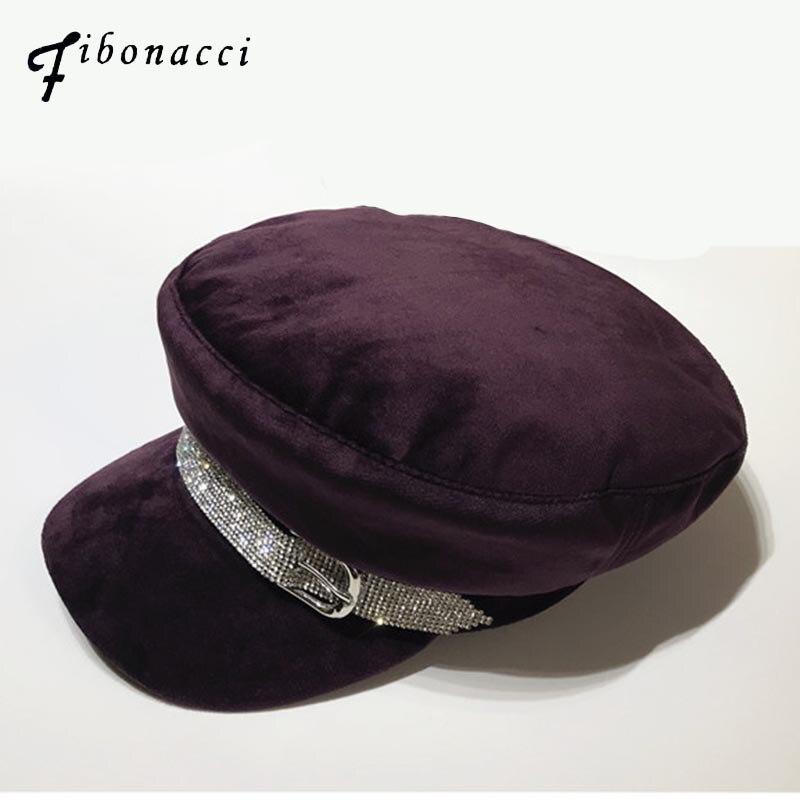 Fibonacci 2018 nuevas mujeres militares sombreros Rhinestone decoración  tela de franela 3 colores trabajo tapa azafata sombrero de marinero 0e93b02527f