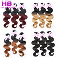 1B Burgundy Brazilian Virgin Hair Body Wave 3 Bundles 1B 27 Ombre Human Hair Extensions 7A Ombre Brazilian Hair Weave Two Tone