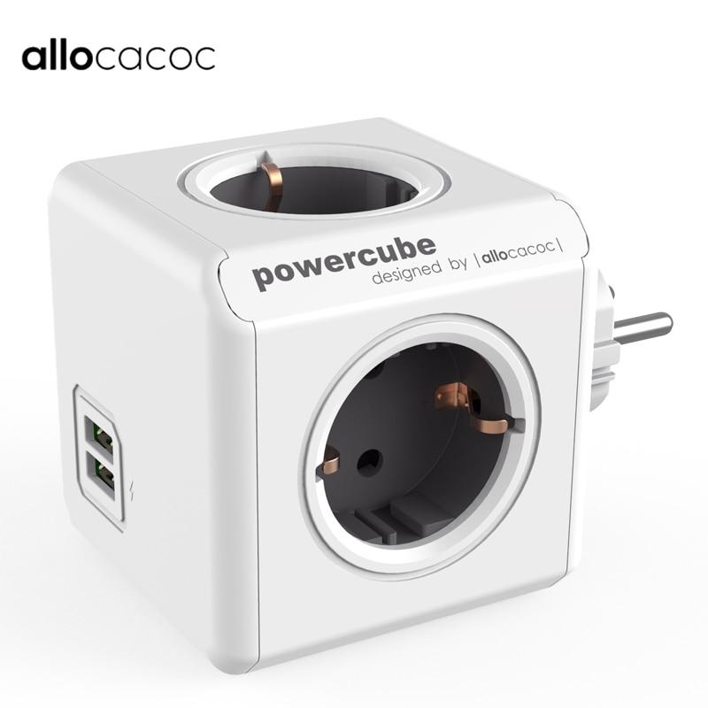 Allocacoc Electric EU Plug Power Strip Smart Socket 2 USB 5V 2.1A Port PowerCube Travel Adapter Socket Extension Home Office