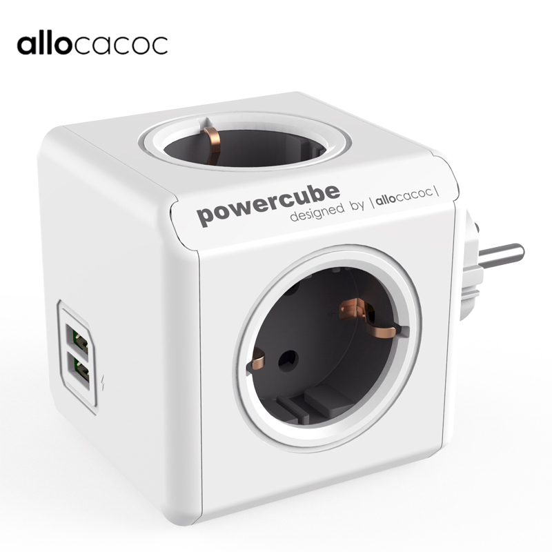Allocacoc Powercube Smart Power Strip EU Plug Adapter With USB Charger Power Flat Wall Socket For Phones Tablets Extension Home