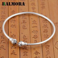 BALMORA 990 Pure Silver Lotus Flower Open Bangles For Women Jewelry Simple Fashion Bracelets Accessories High