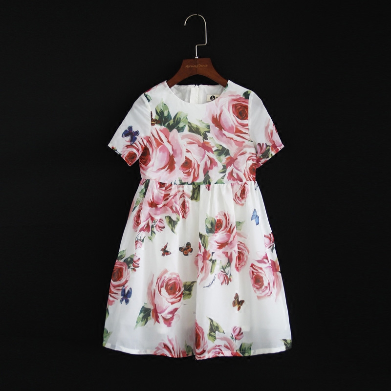 Summer brand children chiffon family look clothes kids mom girl flower print beach dress matching mother daughter fashion dress summer children clothing family clothes kids infant girls women opulent rose print dress matching mother daughter fashion dress