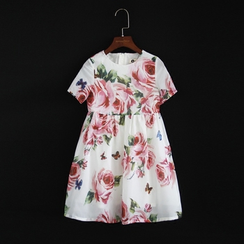 Summer brand children chiffon family look clothes kids mom girl flower print beach dress matching mother daughter fashion dress