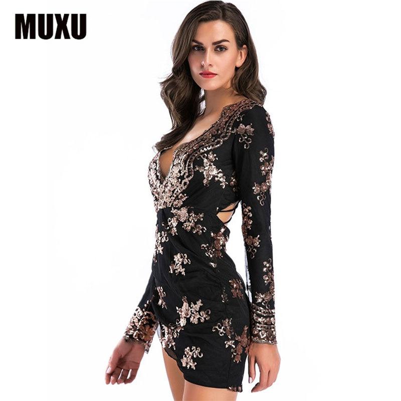fashion sexy black sequin dress clothes women clothing glitter patchwork  long sleeve moda feminina party 2018 ladies dresses -in Dresses from Women s  ... 74da2c80b33b