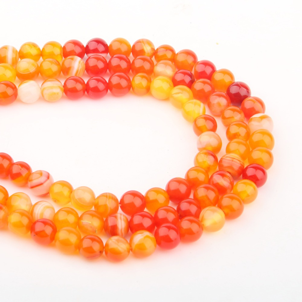 Natural Stone Beads Orange Agat Stone 4681012mm  Fashion Jewelry Loose Beads for Jewelry Making Necklace DIY Bracelet