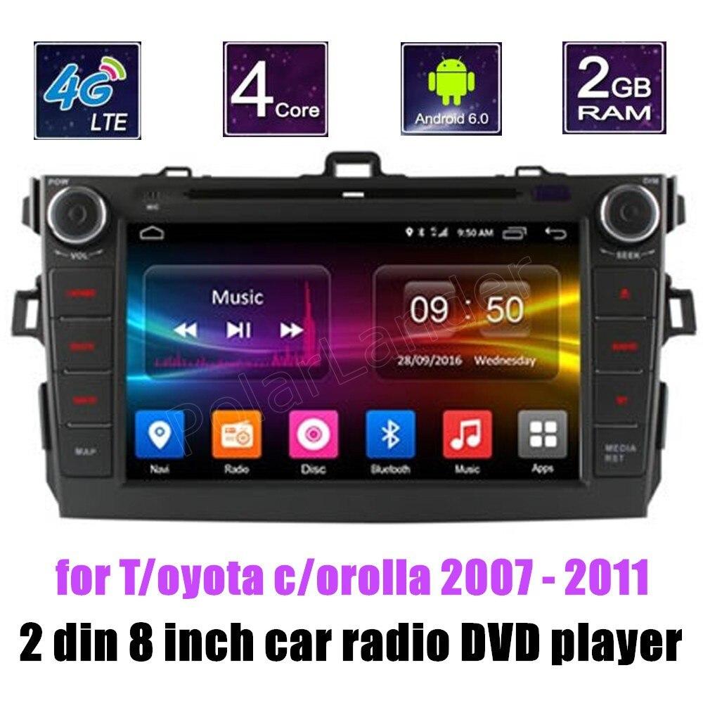 Bluetooth 8 pouces Android 6.0 GPS Radio pour Toyota corolla 2007-2011 voiture lecteur DVD écran multimédia miroir