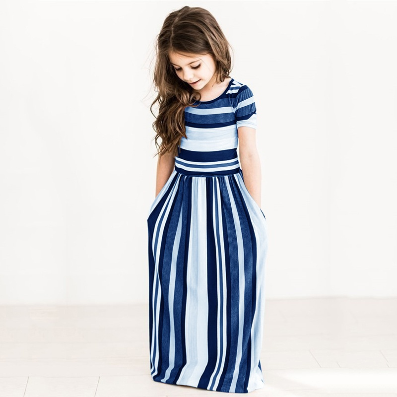 5 Colors Summer Kids Girls Dress Striped Children Summer Short Sleeve Beach Boho Long Maxi Dress Sundress Girls Clothing