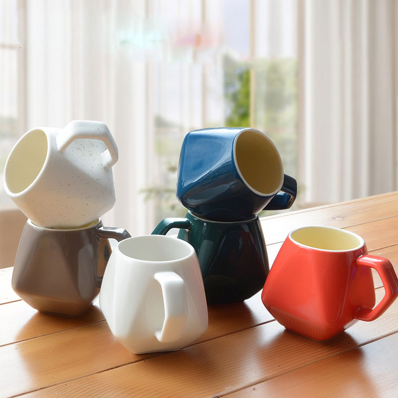 Creative Ceramic Cup Retro Breakfast Milk Cup Fashion Cups Mugs Color Mug Creative Diamond Free Shipping