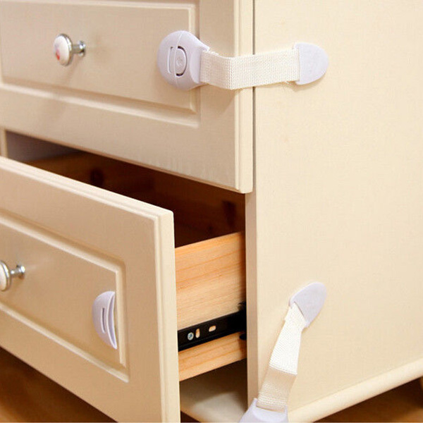 Safety Drawer Door Cabinet Cupboard Toilet Locks Baby Kids Safety Care Plastic Locks Straps Infant Baby Protection