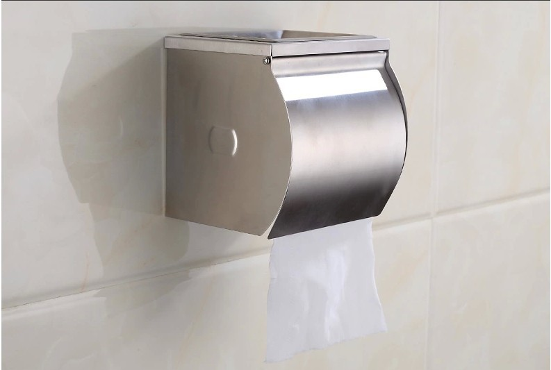 Waterproof toilet tissue box Stainless steel roll of toilet paper roll holder sanitary towel rack toilet roll holder box space aluminum paper holder roll tissue holder hotel works toilet roll paper tissue holder box waterproof design