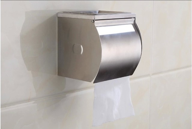 Waterproof toilet tissue box Stainless steel roll of toilet paper roll holder sanitary towel rack toilet roll holder box