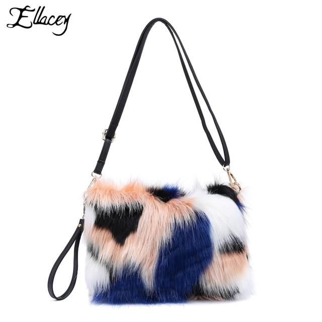New 2018 Le Contrast Color Faux Fur Clutch Bags Women Luxury Multicolor Soft Messenger Casual
