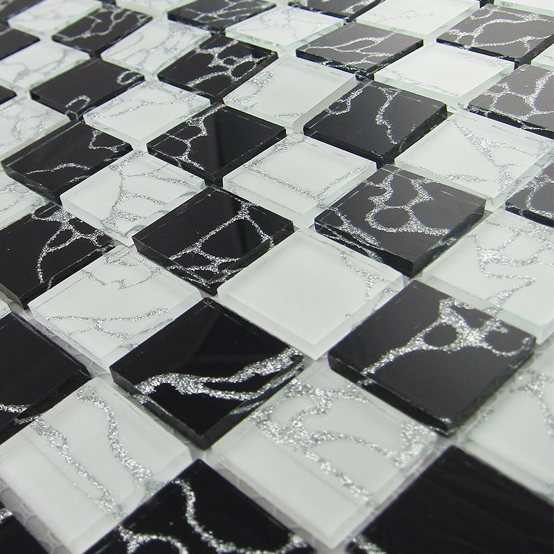 Black And White Glass Mosaic Tile Kitchen Backsplash Tile Deco Mesh Silver Lines Bath Wall Borders Shower Mosaics Art 11 Pcs Lot Mosaic Tile Wall Mirror Art Glass Lamp Shademosaic Sticker Aliexpress