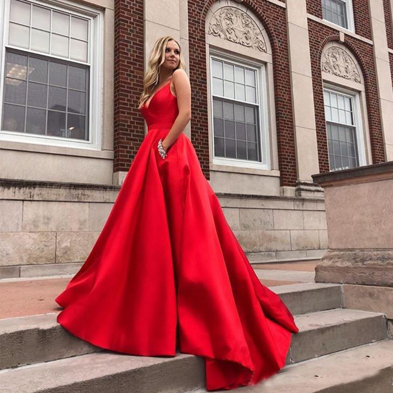 Hot Sale Red Prom Dress With Pockets V-neck 2019 A-line Satin Vestido De Formatura Diamonds Sweep Train Women Formal Party Dress
