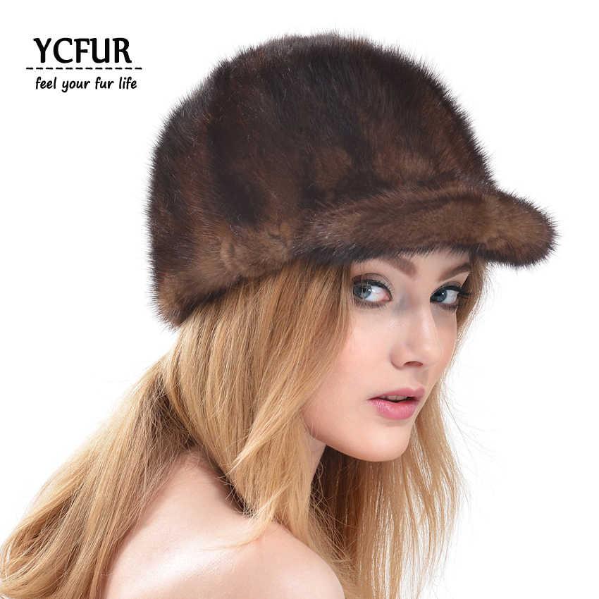 YCFUR Women Winter Visors Brand Design Pieces Of Real Mink Fur Hats Caps  For Women Genuine c2e39f26f34