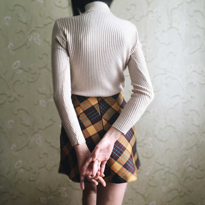 4d3578d78 ... GOPLUS 2019 Streetwear Fashion Sexy Autumn Winter Yellow High Waist  Plaid Skirt Womens A-line ...
