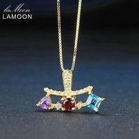 Lamoon Pirámide 4*4mm Natural Amatista Granate Topacio Collar 925 Cadena de Plata + Pendientes de La Joyería para Las Mujeres y Los Hombres LMNI060