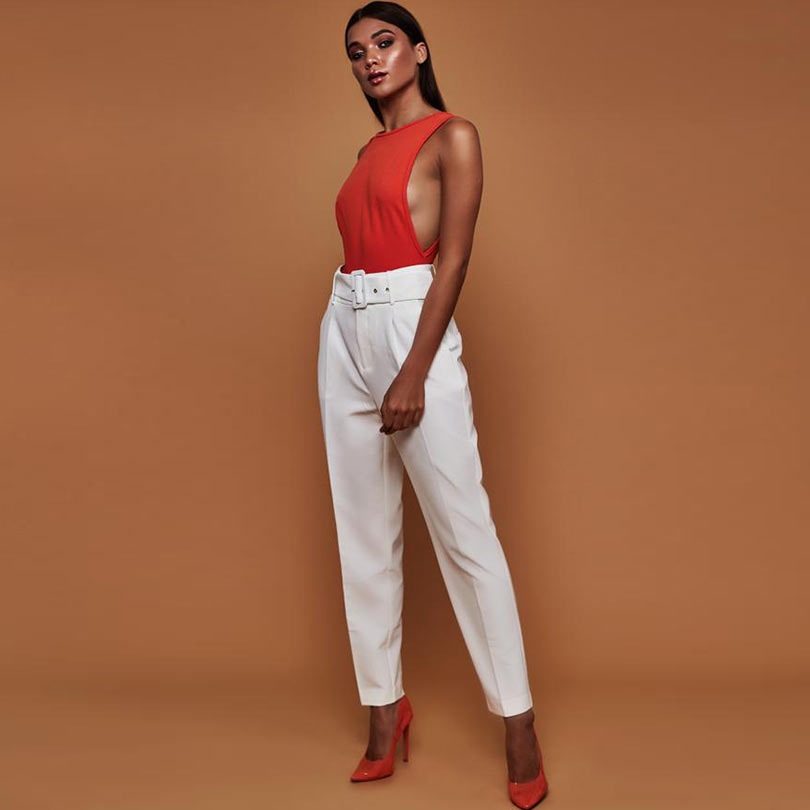 office lady white belt pants