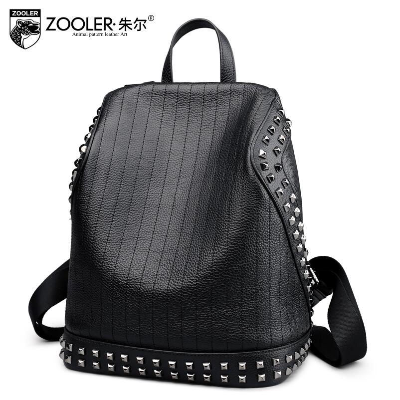 2017 New zooler Superior cowhide Black simple women genuine leather backpack fashion rivet leisure women famous brands