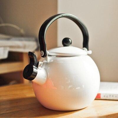 Boule de sifflet épaissie en émail appelée marmite gaz électromagnétique poêle à eau brûlante marmite sifflante théière théière-urne 1.4L
