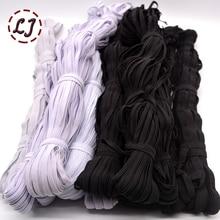 3mm/5mm/6mm/8mm/10mm/12 millimetri Narrow cinghie elastiche nero bianco per i pantaloni di stoffa sacchetto di casa FAI DA TE nastro elastico fasce accessori di cucito