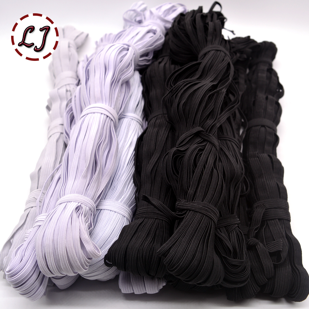 3mm/5mm/6mm/8mm/10mm/12mm Narrow elastic webbing black white for cloth pants bag home DIY elastic tape bands sewing accessories(China)