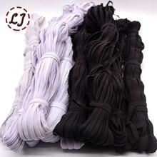 3mm/5mm/6mm/8mm/10mm/12mm wąska elastyczna taśma czarny biały dla materiałowe spodnie torba domu DIY taśma elastyczna zespoły akcesoria do szycia