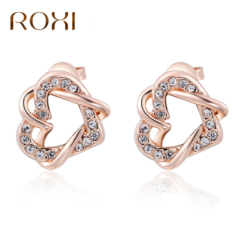 Roxi Brand Jewelry Crystal Owl Stud Earrings For Women Vintage Rose Gold Color Animal Statement Earrings Pendientes Mujer Moda Earrings