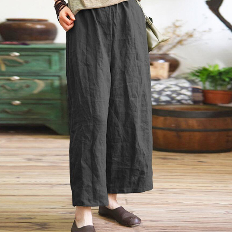 New Women Summer Loose Solid Long   Pants     Wide     Leg     Pants   Cotton Linen Casual Femme   Pants   Elastic Mid Waist Plus Size Trousers 2018