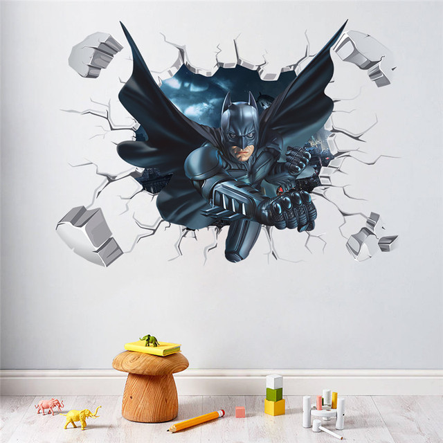 Cartoon Spiderman Batman wall stickers for kids room 3d effect wall decal Children Boys room poster & Cartoon Spiderman Batman wall stickers for kids room 3d effect wall ...