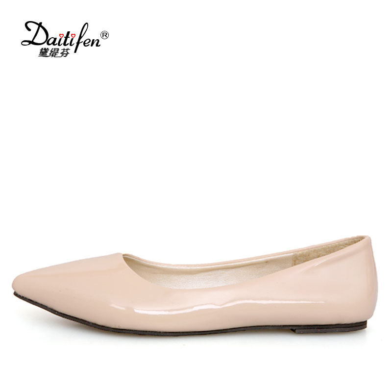 Daitifen Candy 6 Color Patent Leather Flat Womens Pointed Toe Slip-On Flat Women Shoes Casual Ballet Girls Flat Plus Size 30-49