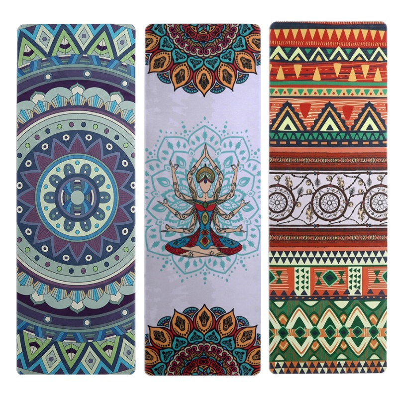 Natural rubber suede printed non-slip yoga Rubber Yoga Mat 183*61cm*5mm Pilates Mat Tapis Yoga Gym Fitness Exercise Mats Gym Mat printed yoga mat travel mat 183 61 0 15cm anti slip foldable yoga pilates pad exercise mats for gym fitness sports dance cover