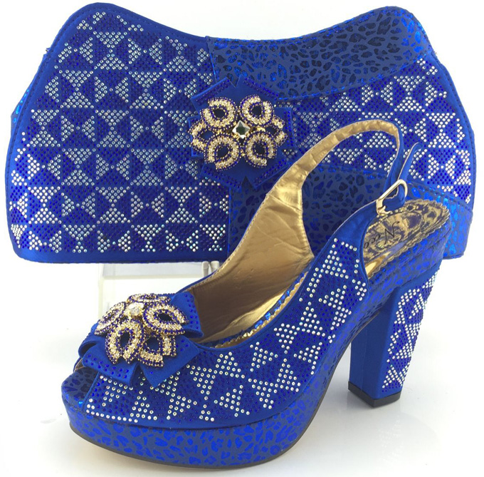 ФОТО Fashion Nigeria Design Woman Shoes And Bag Set  African High Heels Shoes With Bag For Evening Party Low Price Blue Color  ME3332