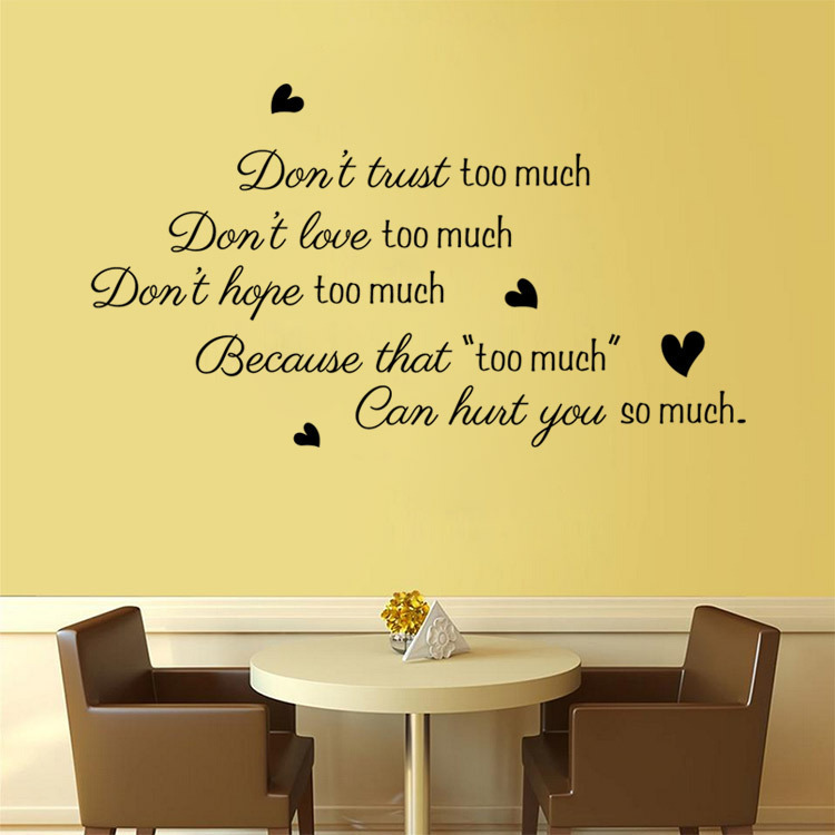 Donu0027t Trust Too Much Love Wall Decals Sticker Quote Wall Arts Diy  Decorative Bedroom Removable Vinyl Wall Stickers Wholesale In Wall Stickers  From Home ... Part 42