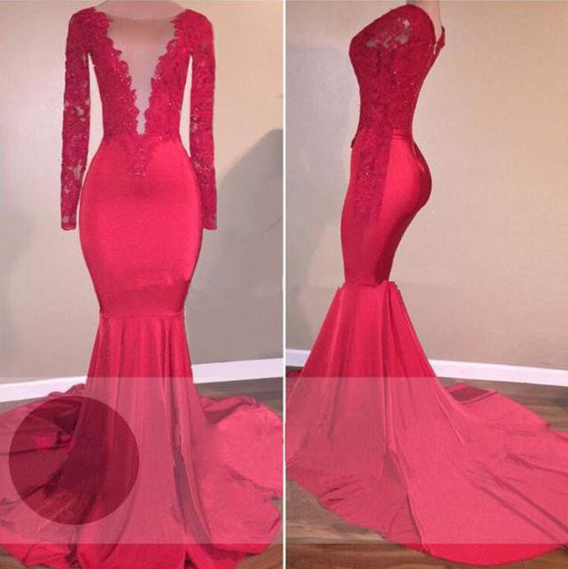 Red 2019 Prom Dresses Mermaid Long Sleeves See Through Appliques Lace Party Maxys Long Prom Gown