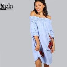 SheIn Womens Dresses New Arrival 2017 Vintage Summer Dress Blue Rose Patch Detail Off The Shoulder Knee Length Dress