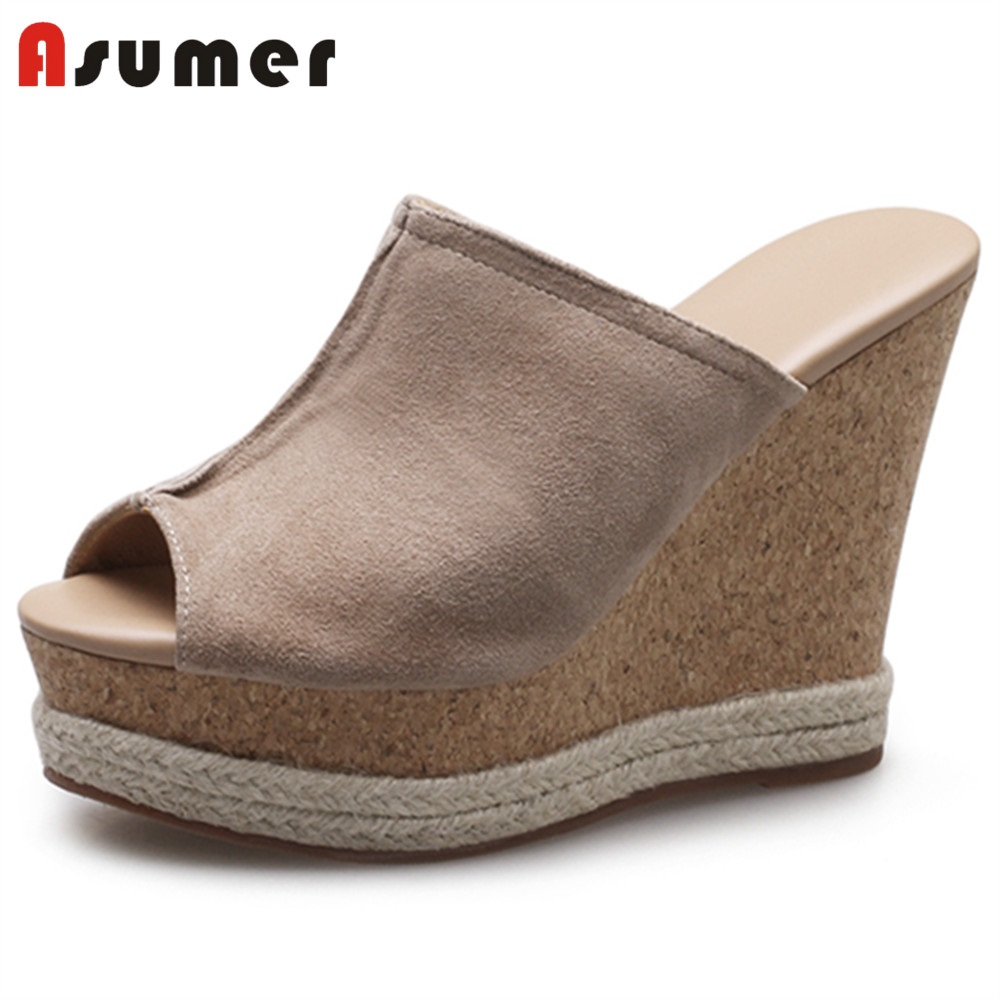 ASUMER HOT 2018 fashion peep toe wedges platform shoes suede leather summer mules sandals women casual party shoes elegant slip on wedges shoes women casual chunky heel summer red blue peep toe suede 2018 high heels mules platform sandals
