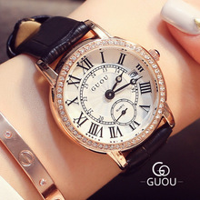 GUOU Brand Classic Retro Women Watches Roman scale Quartz Watch Leather band Ladies Wristwatch Relogio Feminino Montre Femme