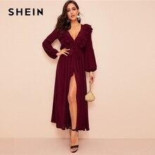 שיין צולל צוואר שכבות לפרוע Trim חגור העבאיה שמלת בורדו מוצק זוהר עמוק V צוואר נשים שמלות