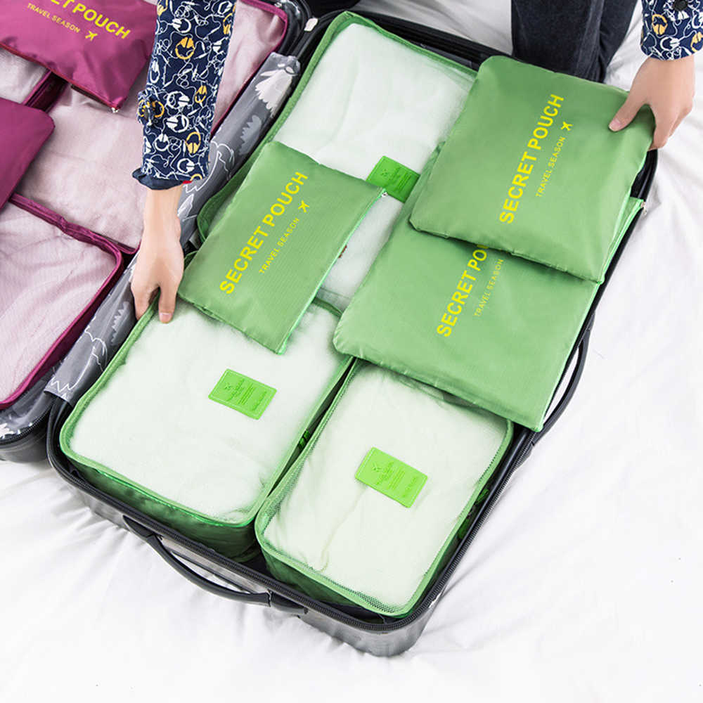 6pcs/set Travel Storage Bag Organizer For Clothes Waterproof Nylon Underwear Shoes Wardrobe Suitcase Pouch Portable Container