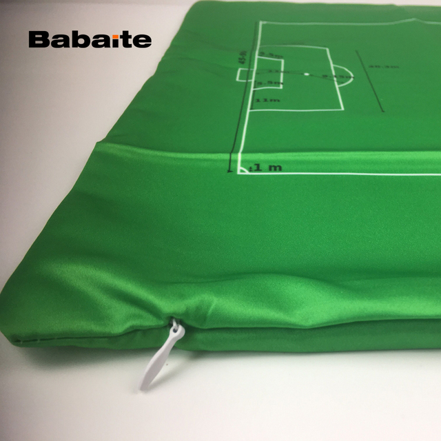 Babaite Soccer Field Football Pitch Green Square Luxury Printing Throw Pillow Case for Living Room Bed Room Great Gift for Fans