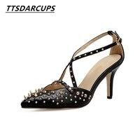 İlkbahar ve sonbahar ayakkabı Perçin ayakkabı türü Yüksek topuk 8 CM İpucu ayak bilekleri çapraz toka Perçin hollow Stiletto topuklar pompa kadın yüksek topuk