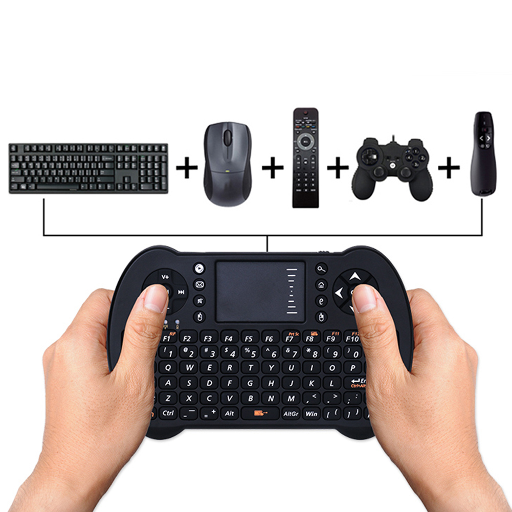 English Version 2.4G Mini Wireless Keyboard Handhold Game Gaming Keyboards Touchpad for PC Android TV High Quality