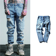 2017 New Arrival Fashion Hole Men Jeans Casual Straight Full Length Denim Jeans Classic sweat men's carho pants Jeans Men