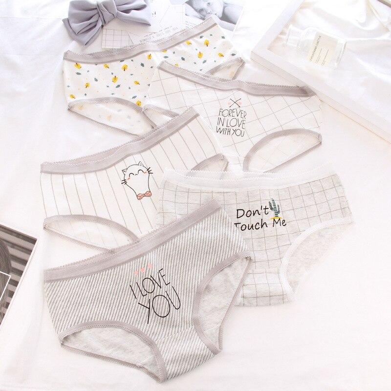 Young Girls   Panties   Cotton Briefs Women Low Waist Stripe Cute Underwear Female Autumn Winter Lingerie Underpants Ladies ST0072