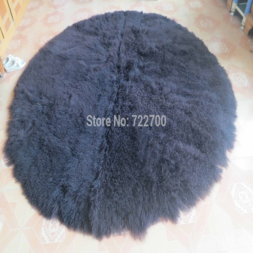 Us 1186 09 Round Mongolian Lamb Fur Rug Tibetan Blanket Sheepskin Rugs And Carpets For Home Living Room Throw Decorative Blankets In