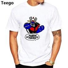 White T Shirt Men Mazinger Z Cartoon Printing T-Shirt Short Sleeve 100% Cotton Round Neck Anime Tee Shirt Boy T Shirts Teenage